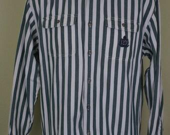 Guess Striped Button Down Shirt Green White Size XL