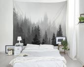 Tree Tapestry, Black And White, Landscape Photo, Forest Tapestry, Nature Wall Decor, Washington State, Fog Tree Tapestry, Pine Trees. MW004