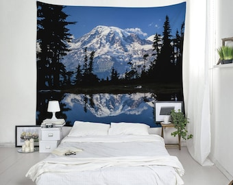 Mount Rainier Wall Blanket, Interior Decoration, Bedroom Tapestry, Tapestry Room, Unique Tapestries, Fabric Wall Hangings