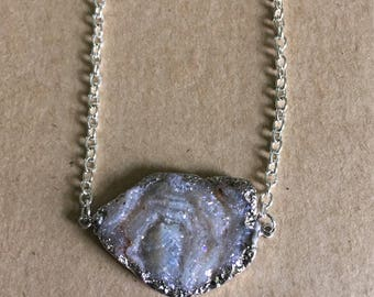 Agate Druzy Pendant Connector Necklace