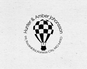 Personalized Return Address Stamp with Air Balloon RAR009