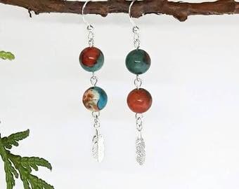 Sterling silver feather earrings, boho earrings, fossil stone, feather wish earrings, sterling silver feather, silver feather earrings