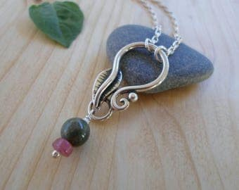 Tourmaline sterling silver necklace, nature jewelry, leaf silver necklace, woodland jewelry, tourmaline pendant, silver leaf jewelry