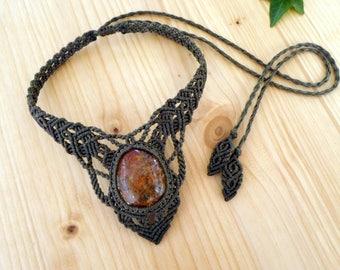 Phantom quartz macrame necklace, lodolite necklace, healing jewelry, garden quartz, macrame jewelry, crystal healing, lodolite jewelry