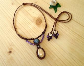 Phantom quartz macrame necklace, crystal healing, quartz pendant, healing jewelry, tribal necklace, macrame jewelry, hippie necklace