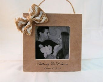 Wedding Christmas ornament picture frame, first christmas married newlywed gift for wife husband