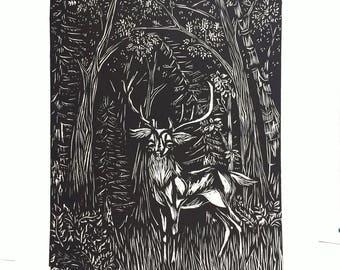 "Original Woodcut Print ""The Clearing"""