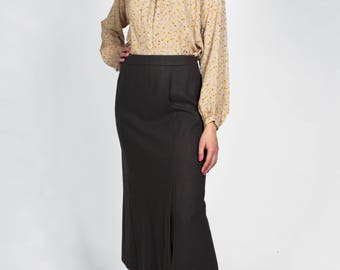 Vintage High Waisted Wool Midi Skirt Dark Brown Thick Warm Winter Slit Long Fitted - Small
