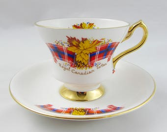 Vintage Tea Cup and Saucer by Windsor, Royal Canadian Tartan, Canada Tea Cup, Bone China