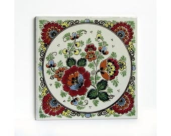 DELFT ceramic Polychrome tile  - hand painted in Holland flower motif in perfect condition, stamped on back Dutch traditional ceramic art