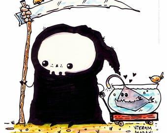 Pet Walk - funny Lil' Grim Reaper Print