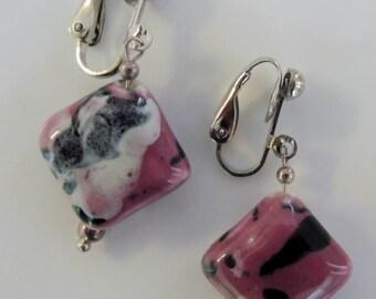 Clip on earrings-pink earrings-lampwork earrings-glass earrings-silver-handcrafted-one-off-feminine-ceramic beads