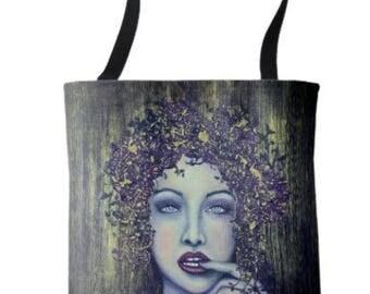"Wearable Art Medium Tote Bag ""Je ne sai quoi"" All over print tote printed painting lady artwork by Deborah Bowe"