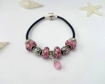 Charm's pink leather bracelet with charm bead ref 492