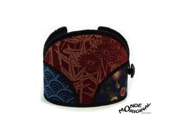 Red Blue Japanese fabric Lotus Cuff Bracelet