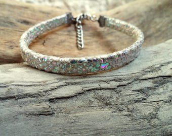 Leather bracelet 1 link iridescent reptile silver (holographic) Boho jewelry By Dodie
