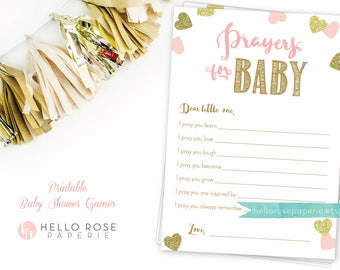 Prayers for Baby . Dear Baby Advice Card . Pink and Gold Baby Shower Printable . Instant Download . Baby Girl Shower . Baby Shower Games