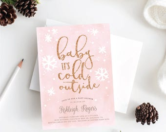 Baby Its Cold Outside Winter Baby Shower Invitation . Pink and Gold . Rose Gold . Silver . Printable Digital Download . Winter Girl Shower