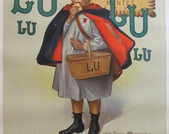1930s Original Vintage Advertisement Biscuits LU Lefèvre-Utile, Le Petit Écolier