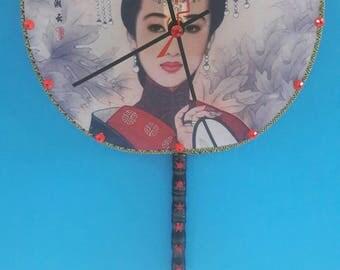 Repurposed Chinese Fan Wall Clock,Chinese, Repurposed Fan Clock, Hand Fan, Upcycled Fan Clock, Functional Art, Fabric Fan Clock,Made By Mod.