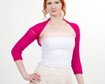 fuchsia bolero bridesmaid pink shrug wedding cover up  bridal bolero boho shrug knit barbie pink top bridesmaids gift wedding sweater