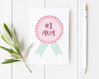 Number 1 Mum Medal Card, Mother's Day Card, #1 Mom Card, Mother's Day Card Mum Knows Best, Card For Mum, Handmade Mothers Day Card For Mom