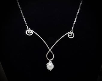 Hammered Silver swirled bar with Freshwater Pearl necklace, Freshwater Pearl and Sterling Silver necklace, Silver and Pearl necklace