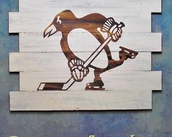 Pittsburgh Penguins ~ Hockey, WhiteWash, 30X23, Burnt wall hanging, Shou Sugi Ban, Charred wood, Sports sign, Wood Sports sign