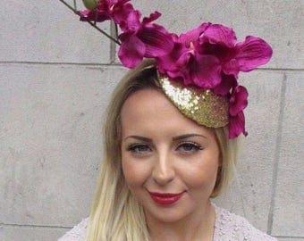 Gold Hot Pink Orchid Flower Fascinator Hat Wedding Hair Races Headband Vtg 3158