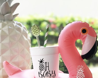 Pineapple Party   Personalized Cups   Monogram Cups   Baby Shower Cups   Gender Reveal Cups   Styro-foam Cups   Foam Cups
