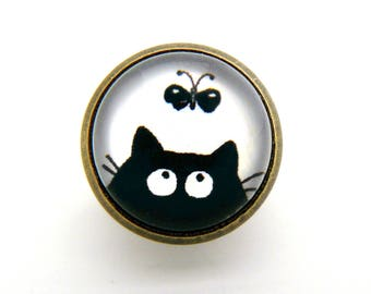 Black cat and Butterfly pins