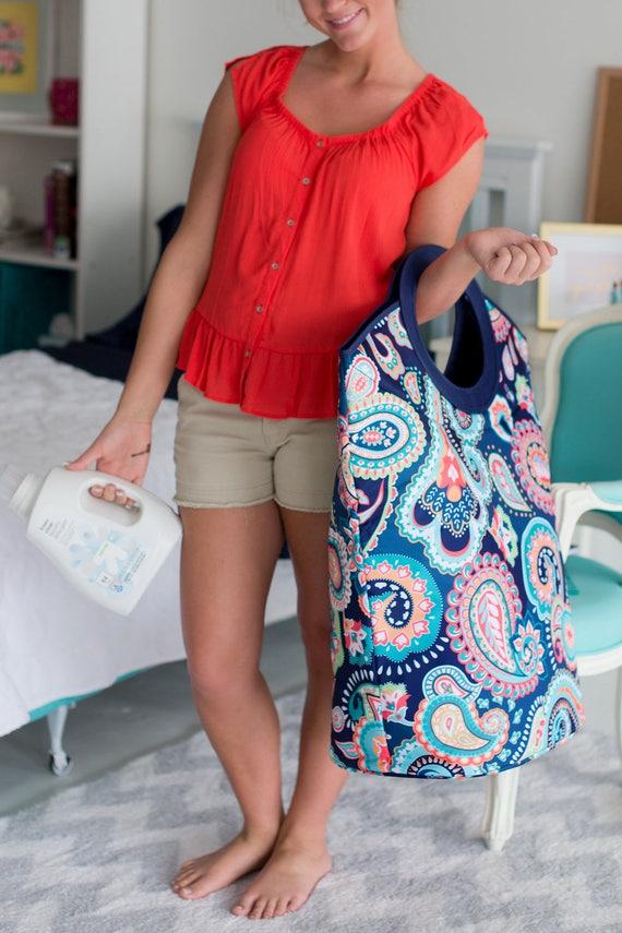 Monogrammed Tote Bag Dorm Room Laundry Hamper Personalized Clothes Hamper Travel Tote Bag Monogram College Student Gifts Highway12Designs