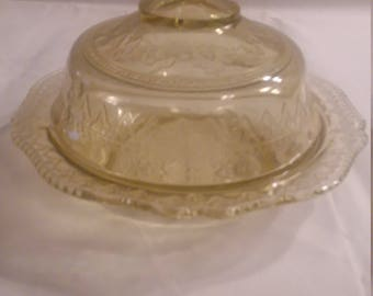 Patrician Spoke Amber Butter Dish and Cover