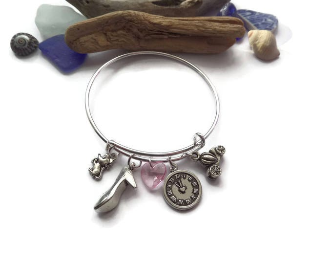 CINDERELLA - PRINCESS inspired SILVER charm bangle bracelet - fan gift - xmas - party bag fillers - jewellery