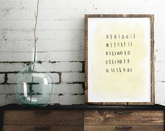 """Binary Code """"Sorry"""" Poster, print, science art wall decor, 8.5 x 11 in, 12 x 16 in"""