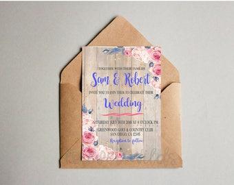Vintage wedding invitation template - Pink Wedding invitation Printable - wedding invites set - Pink Vintage Wedding invitations set prints