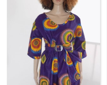 Originale Robe !! KIMONO WAX !! en tissu wax purple multicolore Taille: 38/40 Long 89cm belicious-delicious-creation