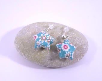 Boucles Origami Etoiles Nova bleu turquoise avec fleurs