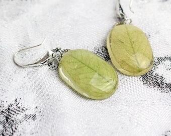 terrarium jewelry leaf earrings green leaf jewelry resin jewelry natural earrings gift fgrandma floral earrings gifts mom gift ideas Кю19