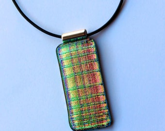 Long Slide Charm Fused Glass Pendant Dichroic Glass Jewelry Green Pink Stripes Dichroic Pendant Shimmering Statement Jewelry