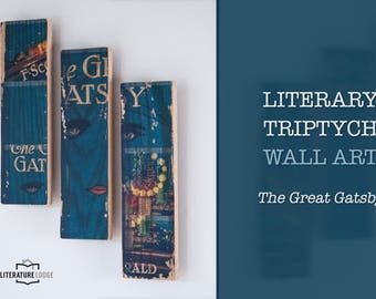 Literary Triptych Wall Art: The Great Gatsby