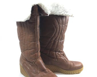 Bastien Brown Leather Boots Vintage Womens Retro 1970s Faux Fur Lined Runs Narrow Made in Canada by Freres Brothers Inc As is