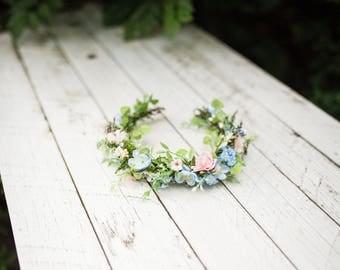 Pastel hair wreath Romantic half wreath Floral headband Flower hair wreath Handmade hair wreath  Summer wreath Hair jewellery