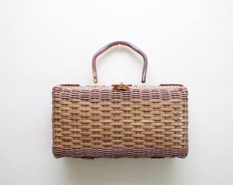 Vintage 50's 60's Vinyl Straw Wicker Handbag / 1950's Lucite Top Handle Handbag / Summer Picnic Purse / Dorette / Accessories
