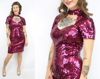 Vintage 80's 90's Fuchsia Sequin Body Con Dress / 1980's Shiny Mini Dress / Open Back / Party Dress / Women's Size Small