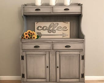 SOLD Petite Grey Coffee Station Farmhouse Hutch Water Bar China Cabinet