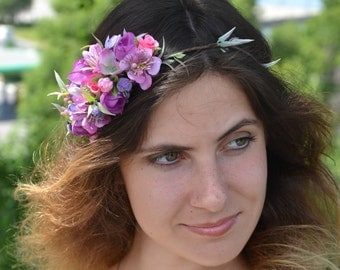 Purple wedding halo Flower wedding headband Bridal halo Bridal headpiece Bridal flower crown Wedding floral crown Bridal hair Woodland crown