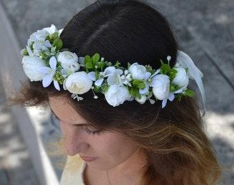White flower headband Ivory floral headband White wedding headpiece Ivory flower wedding headband Bridal hair flower Floral crown wedding