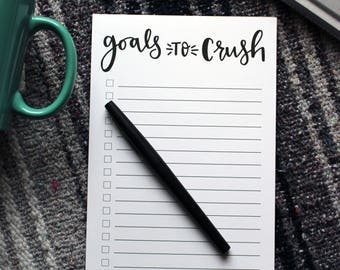 Goals to Crush Notepad | Goal List, Note pads, Goal Planner, Notepads, To-Do List, Task Pad, To-Do List, Notepad, Goal Planning