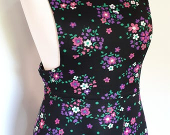 Vintage pinafore dress 70s black floral maxi dress square neckline size small